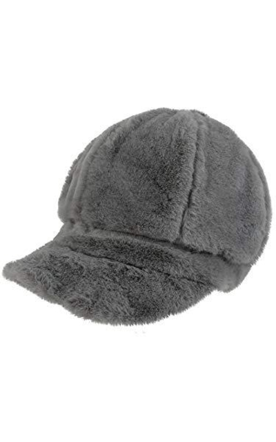 Luxury Divas Gray Faux Fur Cabbie Newsboy Hat