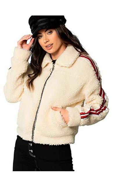 Floerns Fuzzy Coat Jacket with Pockets