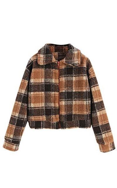 ZAFUL Fluffy Faux Fur Plaid Short Coat