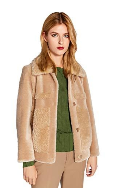 Fur Coat Camel Shearling Jacket with Pockets