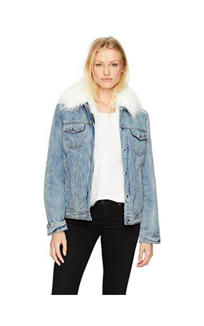 Avec Les Filles Denim Trucker Jacket with Detachable Faux Fur Lining