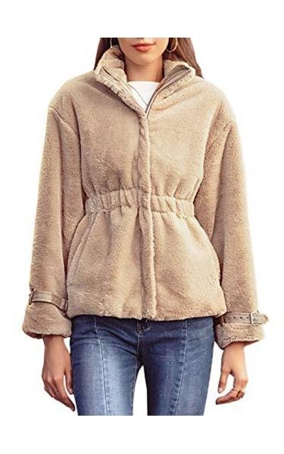 BerryGo Faux Fur Zipper Jacket