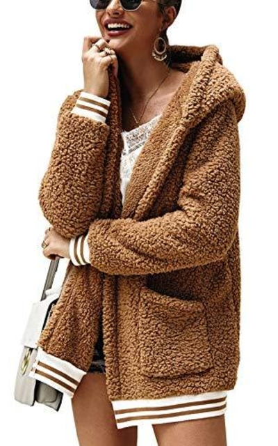 BTFBM Fleece Hooded Open Front Jacket