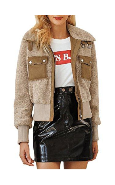 BerryGo Faux Shearling Bomber Jacket