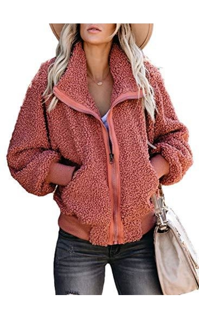LOSRLY Fuzzy Teddy Zipper Coat