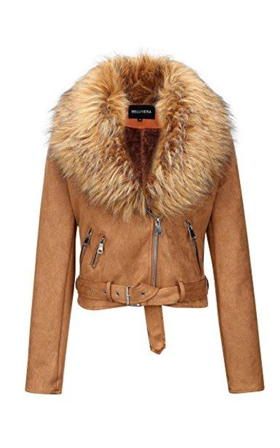 Bellivera Faux Fur Leather Jacket