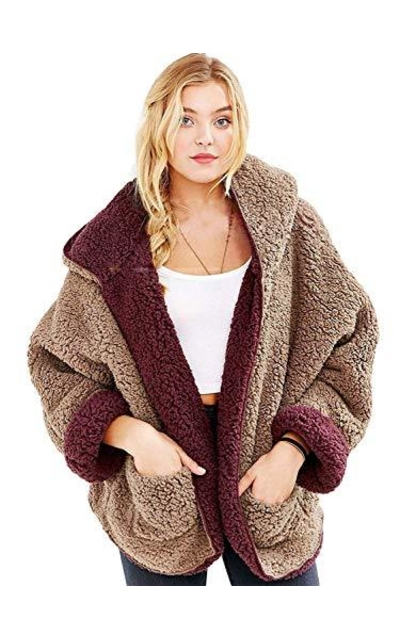 Reversible Faux Fur Hooded Cardigan