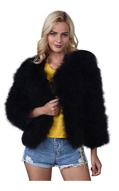 Kulywon Faux Fur Ostrich Feather Jacket