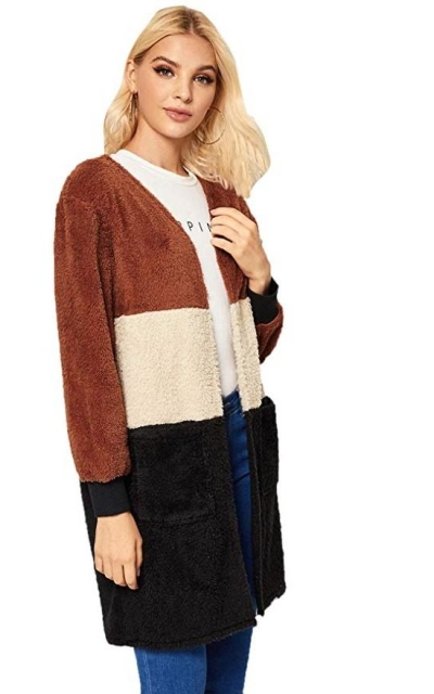 Milumia Color Block Stripe Open Front Teddy Coat Cardigan