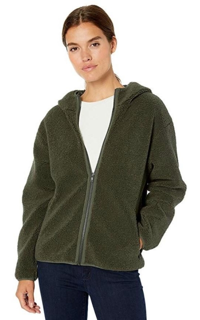 Amazon Brand - Daily Ritual Teddy Bear Fleece Hooded Zip Jacket