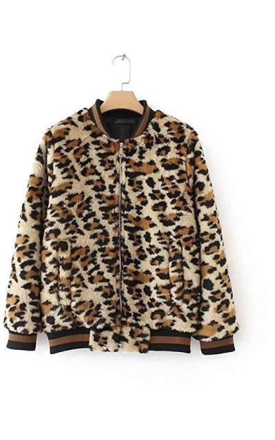 Leopard Print Faux Fur Bomber