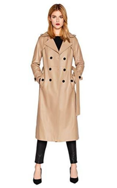 SmartUniverseWear Leather Trench Coat