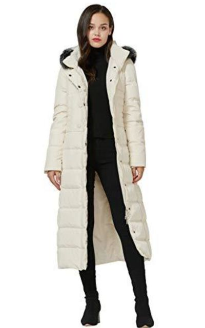 Molodo Long Down Coat with Fur Hood