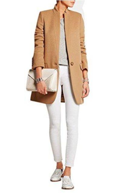 Simple Stand Collar Slim Fit Blazer Woolen Jacket Coat