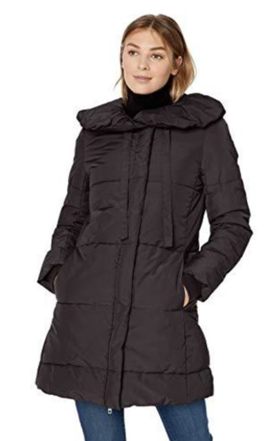 Amazon Brand - Lark & Ro Long Shawl Pillow Collar Puffer Jacket