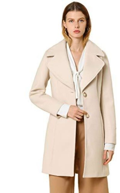 Allegra K Elegant Notched Lapel Button Single Breasted Coat