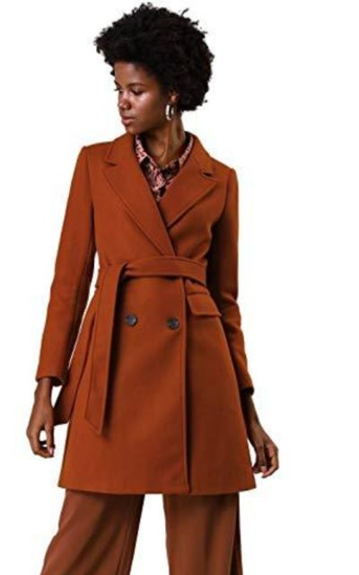 Allegra K Double Breasted Belted Jacket Trench Coat