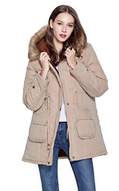 Freeprance Parka Coat with Faux Fur Lining Hood