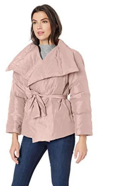 Amazon Brand - Lark & Ro Short Puffer Coat with Wrap