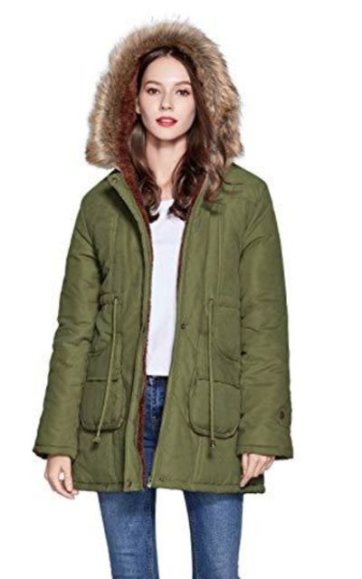 Freeprance Parka Jacket Coat with Faux Fur Lining Hood
