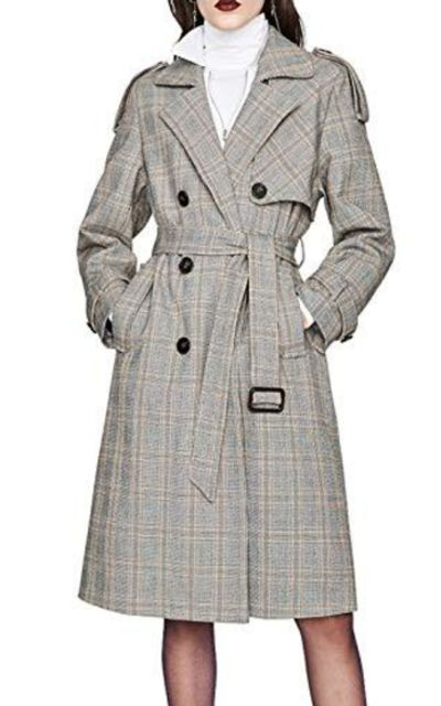 chouyatou Double Breasted Long Plaid Trench Coat