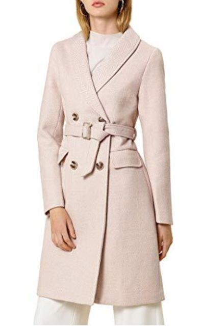 Allegra K Double Breasted Chevron Belted Shawl Collar Lapel Coat