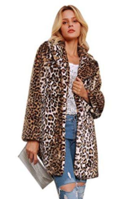 SIMANLI Leopard Printed Long Sleeve Faux Fur Coat