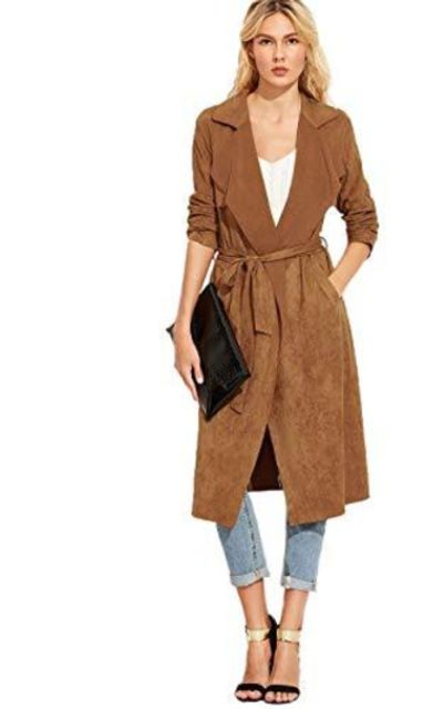 Milumia Tie Wrap Long Trench Cardigan Jacket