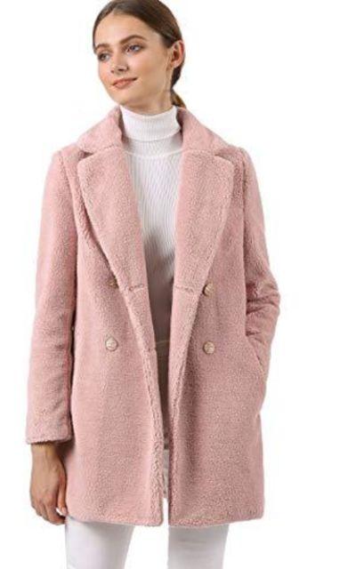 Allegra K Faux Fur Coat Double Breasted Jacket