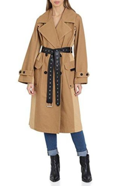 Avec Les Filles Belted Cotton Mid Length Trench Coat with Color Block Panels
