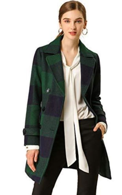 Allegra K Double Breasted Notched Lapel Plaids Trench Coat