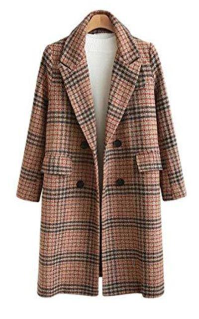 Chartou Plaid Double Breasted Long Peacoat Jacket