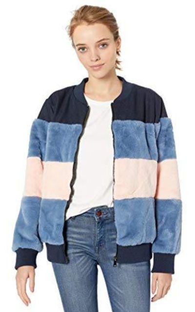 Pink Platinum Faux Fur Bomber Jacket