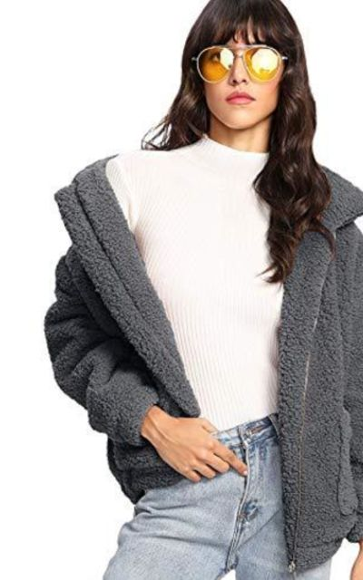 MAKEMECHIC Dual Pocket Faux Fur Coat Jacket