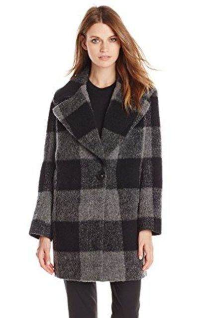 kensie Plaid Cocoon Wool Coat