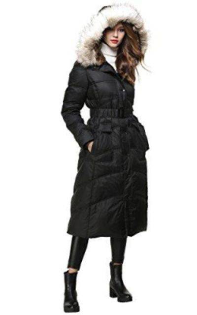 BLDO Long Thickened Fur Hooded Down Jacket with Sashes