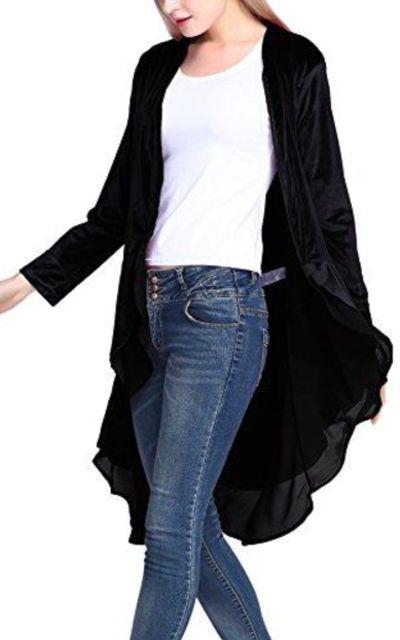 Urban CoCo Velvet Cardigan Coat with Asymmetric Chiffon Hem