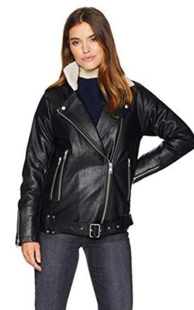 Levi's Faux Leather Oversized Sherpa Lined Moto Jacket