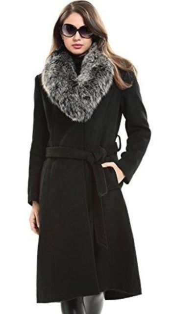 Escalier Trench Long Wool Coat with Real Fox Fur Collar