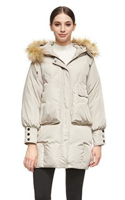 Orolay Down Jacket with Hood Faux Fur Coat