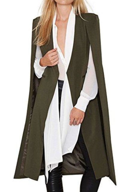 HaoDuoYi Cape Trench Duster Coat