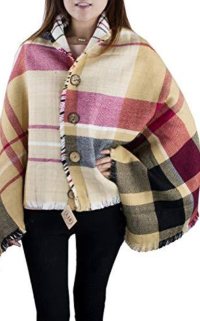 StylesILove Ultra Soft Plaid Poncho