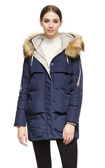 Orolay Thickened Long Down Jacket with Removable Fur Hood