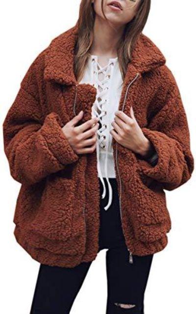 Hibluco Faux Fur Zip up Fleece Coat