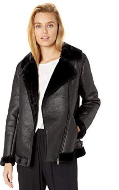 Sebby Collection Faux Shearling Jacket