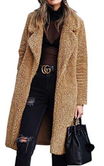 Angashion Fuzzy Fleece Lapel Open Front Coat