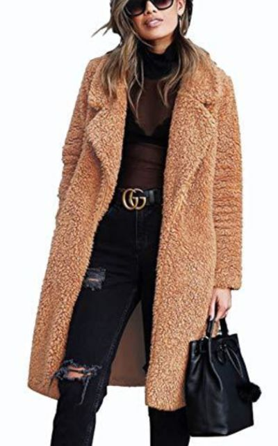 TEMOFON Faux Fur Cardigan Coat
