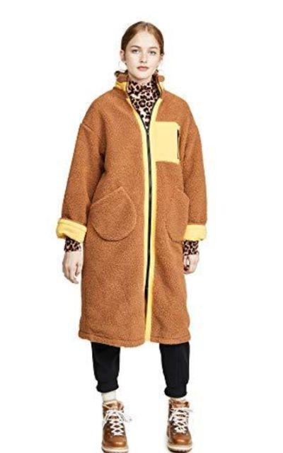 J.O.A. Zip Up Long Teddy Jacket