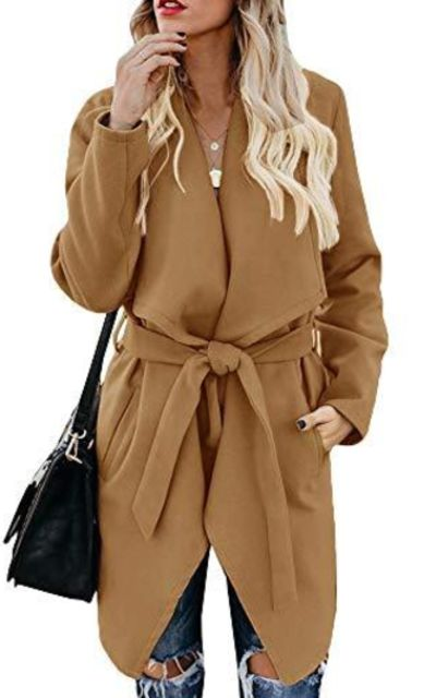 Foshow Lapel Wool Blend Coat