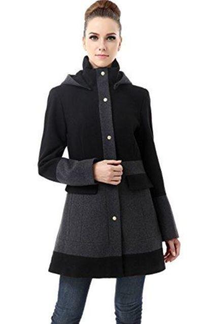 BGSD Marwa Color Block Hooded Wool Blend Coat